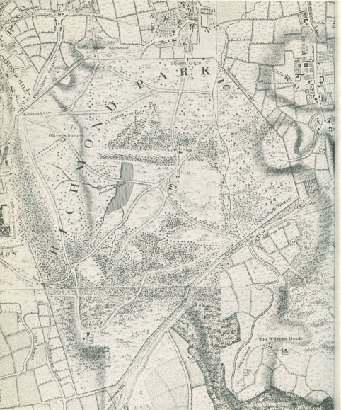 Historic Map of Richmond Park circa 1750